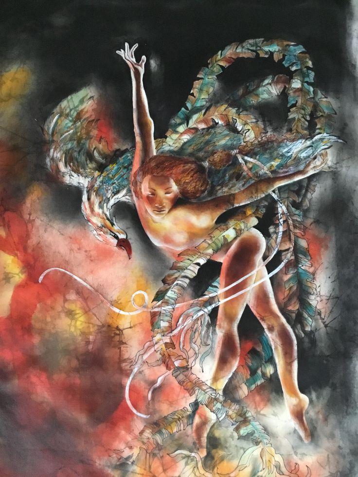 ArtistmGunseli Toker. Textike art. Silk color on silk. 2017. www.gunselitoker.com
