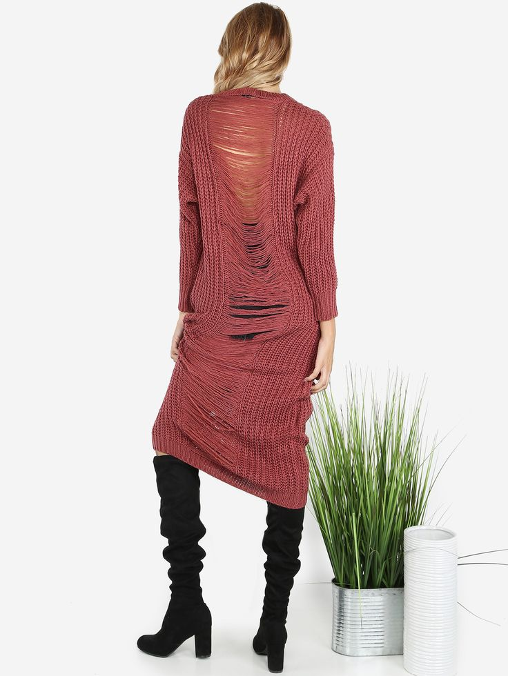 "This dress is so fit for the fall. Featuring a maxi length dress, knit material and a frayed back design. Dress measures 48"" in. from top to bottom hem. Compliment with a cute up-do and dainty jewelry. #distressed #sweater #MakeMeChic #MMCstyle #ootd #MMC #style #fashion #newarrivals #summer16"