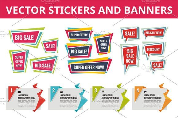 Stickers and Banners - Vector Set - Objects