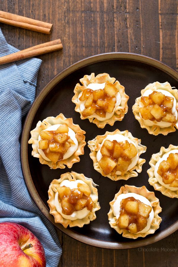 Get your apple pie fix in half the time with these No Bake Apple Pie Cheesecake Phyllo Cups. No need to roll out pie dough or spend time baking the cheesecake filling. Just fill pre-made phyllo cups and serve.