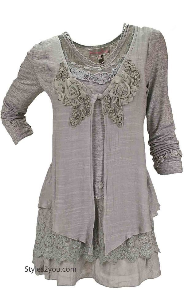 Pretty Angel Clothing Madonna Blouse In Gray 10664GY