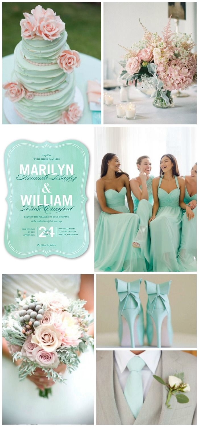Mint and soft pink wedding inspiration with save-the-dates from @Shutterfly #Shutterfly #ShutterflyWeddings