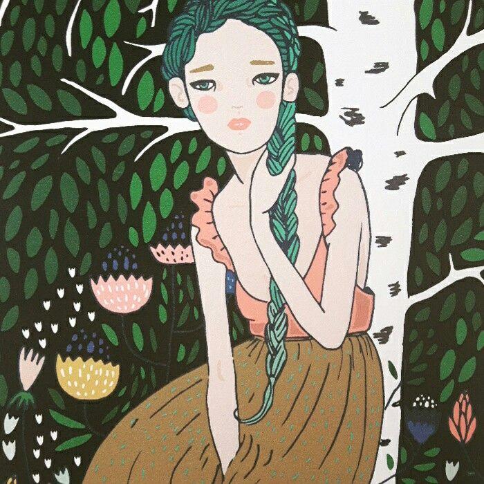Girl by the birch.  Mira Mallius