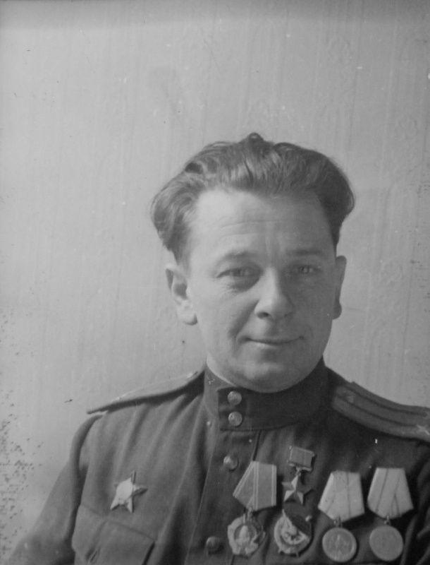 Portrait Commissioner Chernigov partisan unit of Hero of the Soviet Union Lt. Col. Vladimir N. Druzhinin (1907-1976).