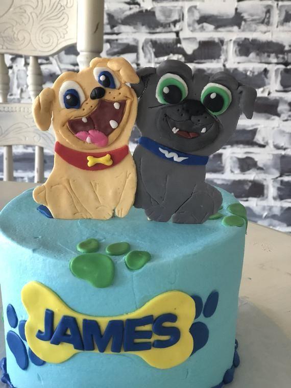 Puppy Dog Pals Cake Topper Fondant Rolly Bingo Birthday Cartoon Boy Birthday Parties Dog Birthday