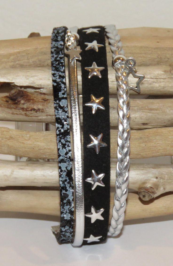 """Bracelet Manchette """"étoile du soir"""" en cuir, cuir paillettes, suédine étoiles, coloris noir et argent : Bracelet par pimprenelle-coccinelle-creations"""