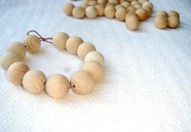 15 mm wooden beads 50 pcs natural unfinished wood from MiracleFromThreads  by DaWanda.com