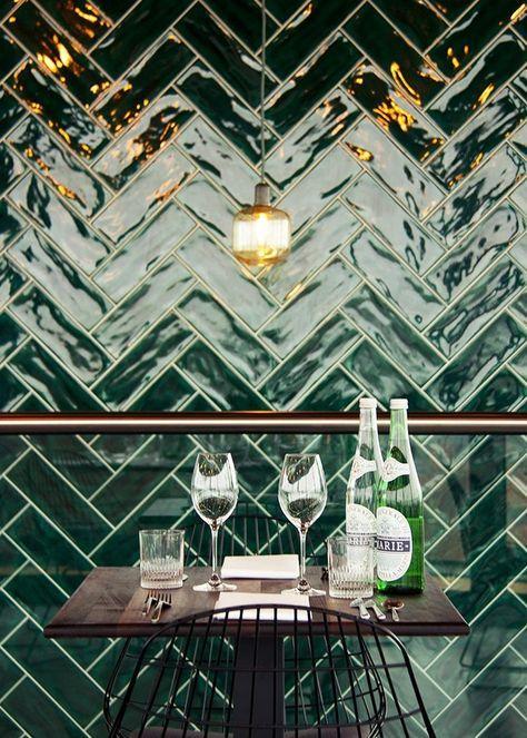 Green herringbone tiles