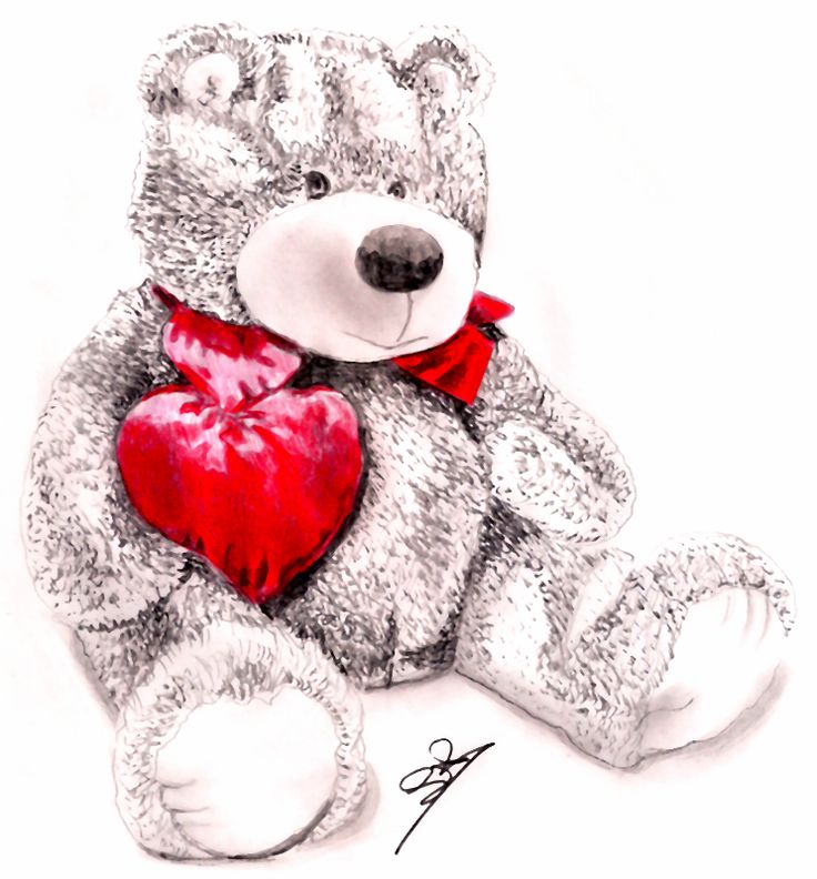 Valentine Bear by jamesgray  I did this Drawing for Valentines Day in 2014, Original artwork Created by using Pencils and Pens, Was used as a Gift