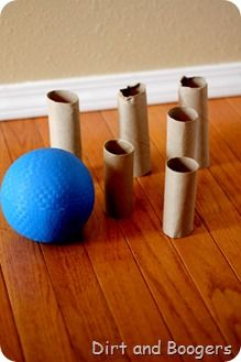 bowling with a little ball and toilet paper tubes. brilliant! rainy day. and finally- bowling pin idea I will actually have ten empty ones on hand.