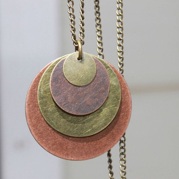 Mixed Metal Pendant Necklace Copper Necklace by NtikArtJewelry