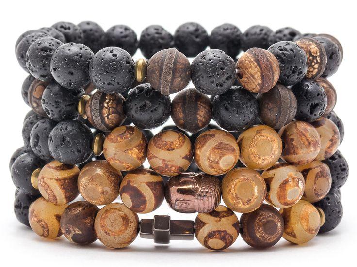 Bracelet men stone mala beads