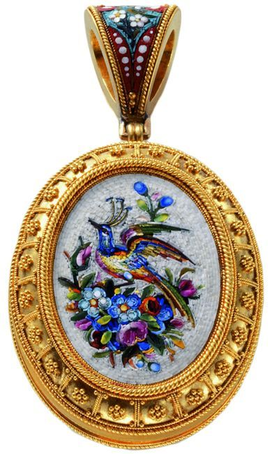 A micro mosaic glass locket, probably from Rome, ca 1875