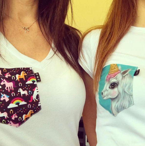 Women's clothing・Pocket tee・Unicorn・Quebec・Pattern・Montreal ❖ Vêtements pour femmes・Licorne・Chandail à poche・Pouliche・Motifs・Montréal