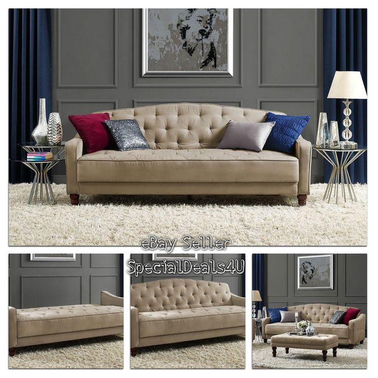 Vintage Tufted Sofa Sleeper Bed Couch Futon Furniture Living Room Lounger Chaise #SpecialDeals4U #VintageContamporaryClassic