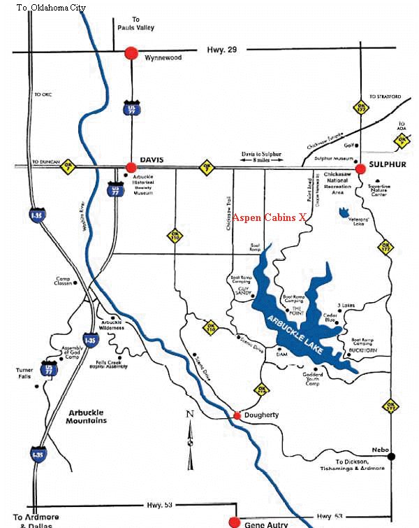 Arbuckle Lake  Aspen Cabins Map in the Arbuckle Mountains