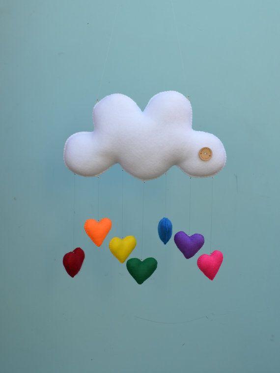 Baby mobile hand sewn cloud with rainbow hearts door MilbotandChooky