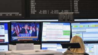 Image copyright                  Getty Images                                                     Wall Street stock markets have extended their rally, with the Dow Jones index hitting an intra-day all-time high and S&P 500 closing in on a record. Hopes that Donald Trump's US victory will introduce a pro-business agenda blunted concerns about his win. Th
