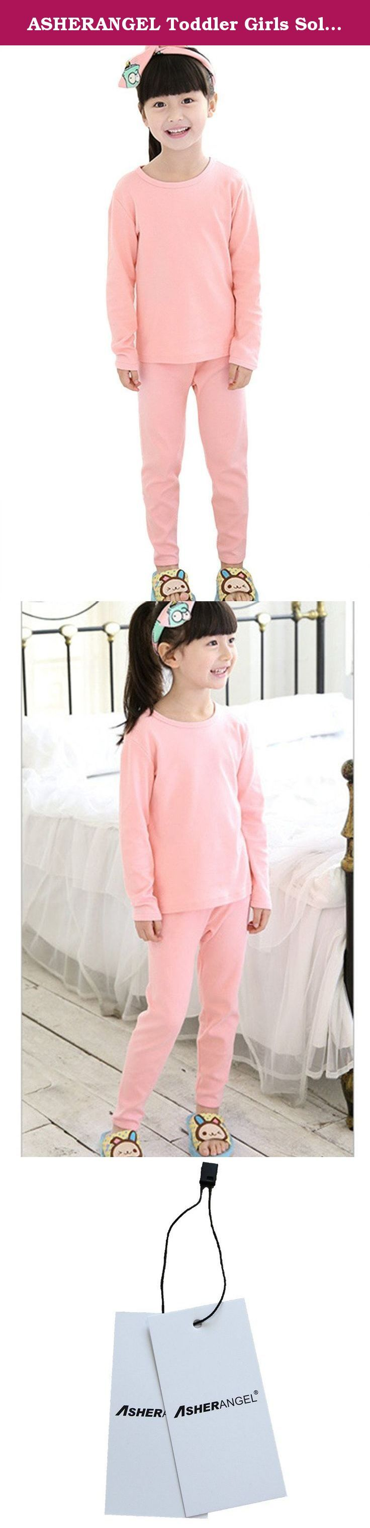 """ASHERANGEL Toddler Girls Solid Long Thermal Underwear Set 100% Cotton Pajamas Pink 3-4Y. Here is the Size Chart: Size 100cm=2-3Y: Bust:21.3"""", Top Length:14.6"""", Waist:16.6"""", Pant Length:19.4"""" Size 110cm=3-4Y: Bust:22.4"""", Top Length:15.8"""", Waist:17.4"""", Pant Length:22.2"""" Size 120cm=4-5Y: Bust:23.6"""", Top Length:17.0"""", Waist:18.2"""", Pant Length:24.4"""" Size 130cm=6-7Y: Bust:24.8"""", Top Length:18.2"""", Waist:19.0"""", Pant Length:27.6"""" Size 140cm=8-9Y: Bust:26.4"""", Top Length:19.8"""", Waist:19.8"""", Pant..."""