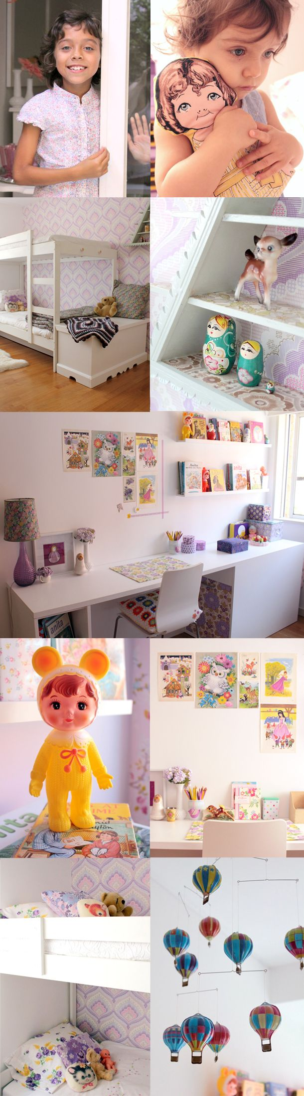 colorful clean kids space- LOVE it! Swedish vintage awesomeness- I especially like the desk area