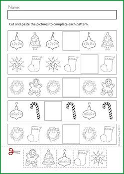 Math & Literacy Worksheets & Activities - Christmas {80 pages} A page from the unit: Patterns