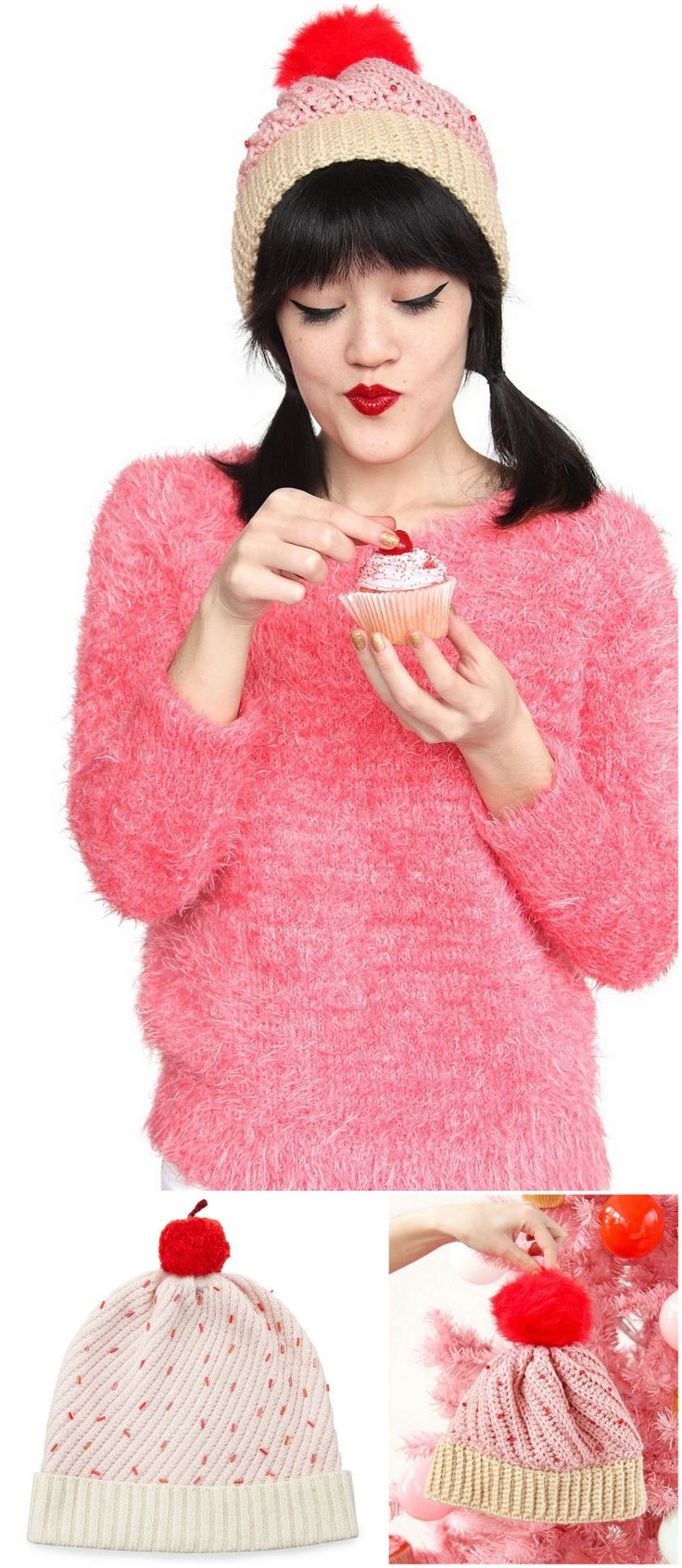 DIY Crochet Kate Spade Cupcake Hat Free Pattern from Aww, Sam. Make a DIY crocheted inspired version of Kate Spade's Cupcake Hat. I personally like Sam's version better. • Top Photo: DIY by Aww,...                                                                                                                                                                                 More