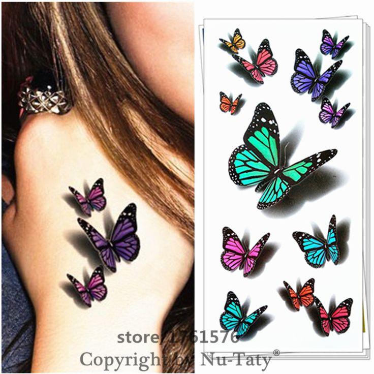 25 Estilo 3D Tatuaje Del Arte de Cuerpo Temporal, increíbles Diseños de La Mariposa, Flash Del Tatuaje Sticker Mantener 3-5 días Del Tatuaje Productos Del Sexo 19*9 cm