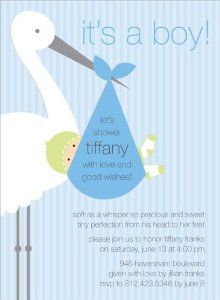 Noteworthy Collections Boy Stork Baby Shower Invitations Stork Tortola    Pack Of 20 By Noteworthy Collections
