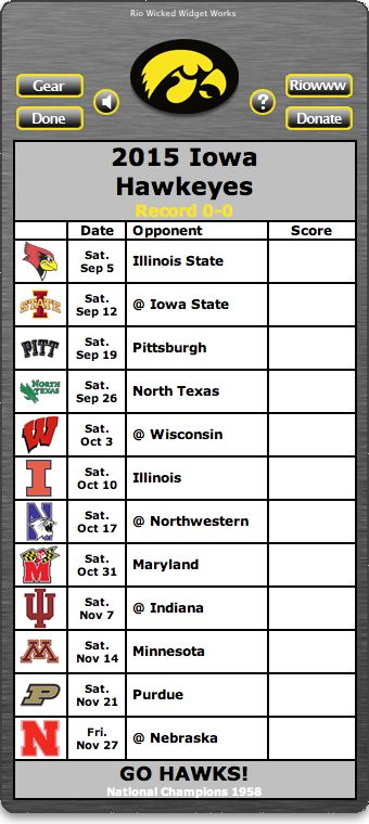 Free 2015 Iowa Hawkeyes Football Schedule Widget for Mac OS X - Let's Go Hawks! - National Champions 1958  http://riowww.com/teamPages/Iowa_Hawkeyes.htm