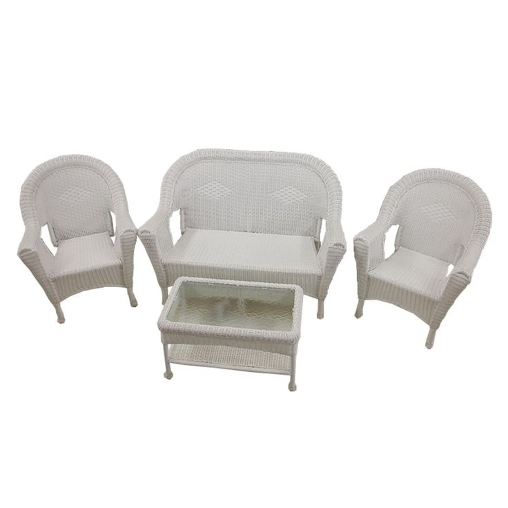 Marvelous 4 Piece White Resin Wicker Patio Furniture Set  2 Chairs, Loveseat U0026 Table Part 14