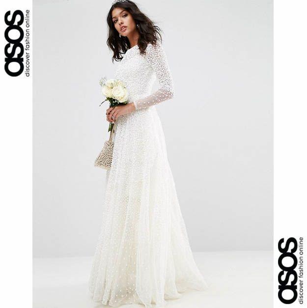 Long Sleeve Wedding Dress // Robe de mariéé avec perles ASOS 2017