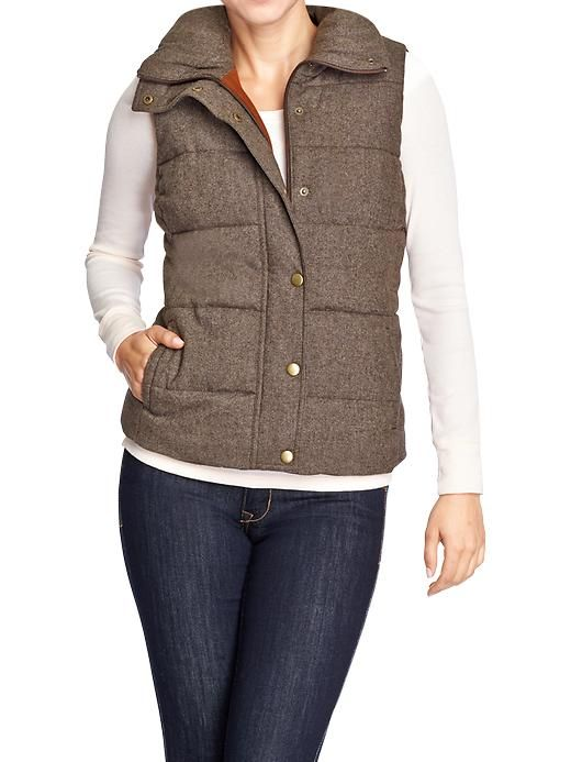 Women's Quilted Tweed Vests from Old Navy