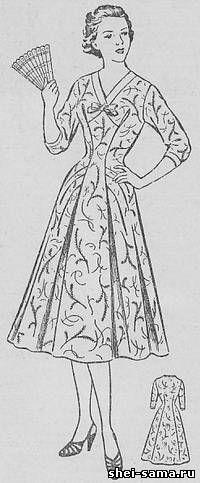 Платье с подрезом на переднем полотнище и драпировкой на юбке - Сто фасонов женского платья - Всё о шитье