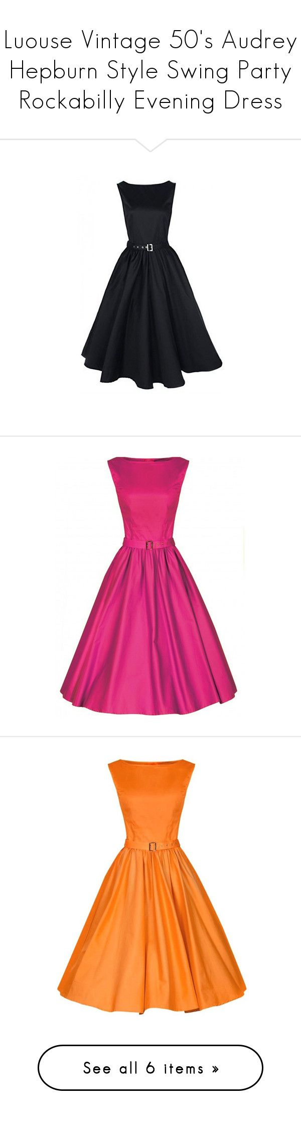 """""""Luouse Vintage 50's Audrey Hepburn Style Swing Party Rockabilly Evening Dress"""" by qwertyuiop-sparta ❤ liked on Polyvore featuring dresses, vintage dresses, rockabilly dresses, going out dresses, holiday party cocktail dresses, vintage rockabilly dresses, vintage party dresses, party dresses, orange dresses and cocktail party dress"""