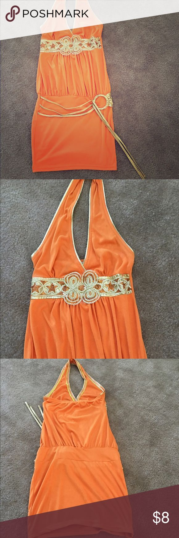 Orange suede mini dress Orange suede a mini dress with matching gold belt. cute. Comes with bonus gift. Dresses Mini