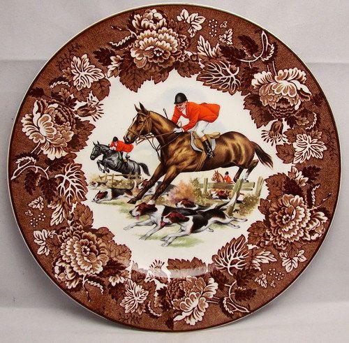 Vintage Brown Transferware Plate English Fox Hunt Scene Dogs Horses