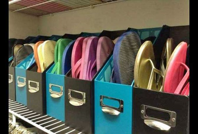 Great idea for storing sandals.