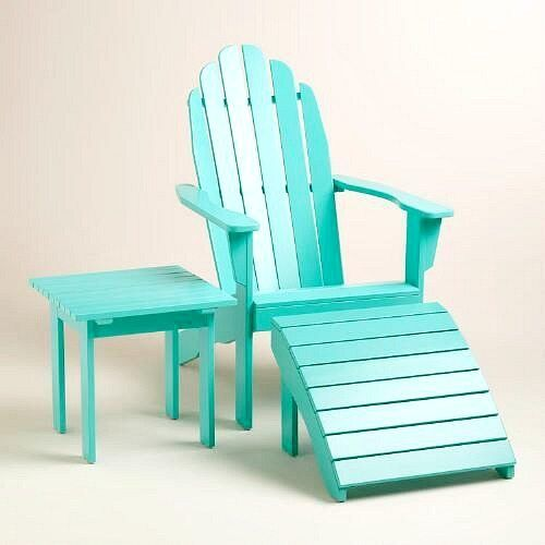 Tropical+Ocean+Blue+Adirondack+Chair+and+Side+Table+
