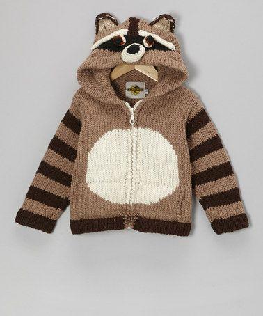 Brown Raccoon Zip-Up Wool-Blend Hoodie - Toddler & Kids by EARTH RAGZ