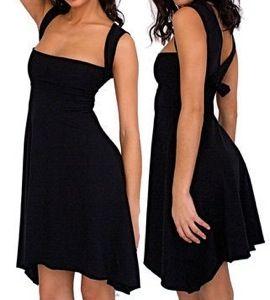 Black Cotton Spandex Jersey Bandeau Dress