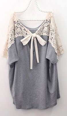 Grey Loose Casual T-shitr Batwing Sleeves Boat Neck