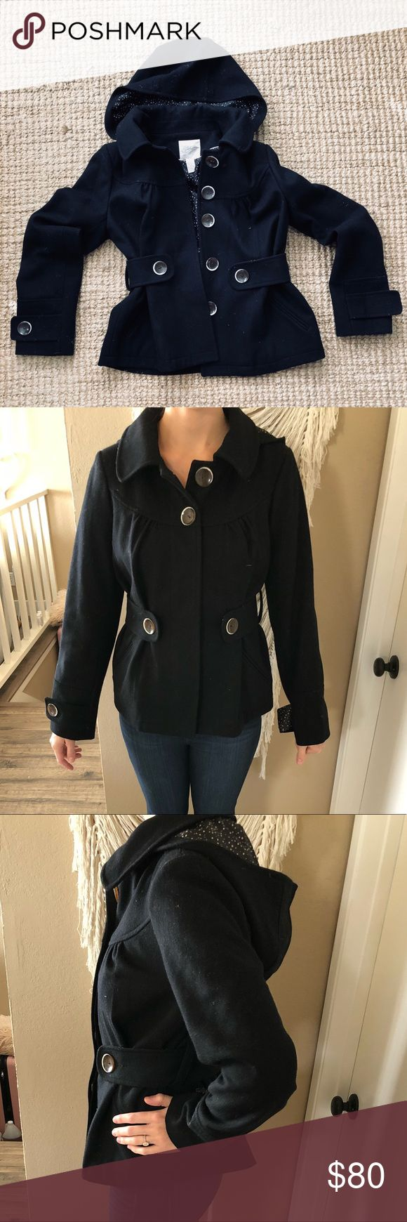 Anthropologie Black Pea Coat Black pea coat with buttons (missing one button on left arm) Anthropologie Jackets & Coats Pea Coats