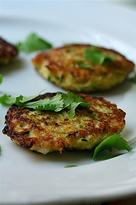 """Zucchini Scallion Cakes - reminds me of """"zucchini pancakes"""" that my mom used to make from our garden's constant production!"""