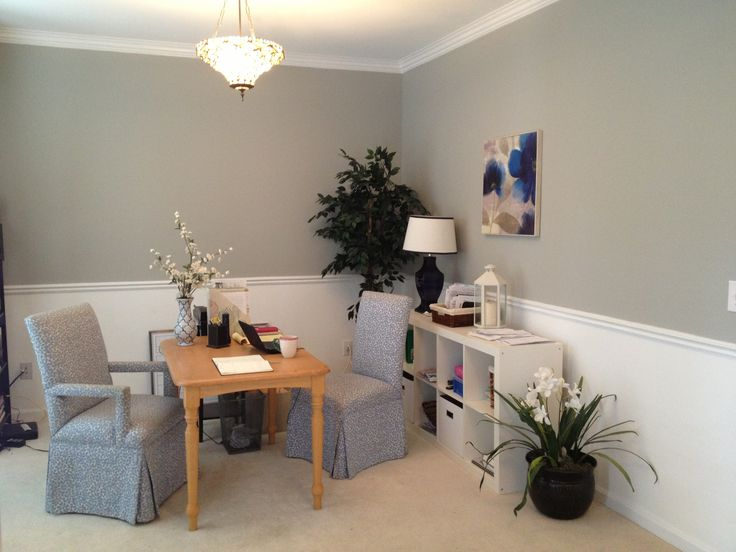 Formal dining room turned into a home office. Wall color ...
