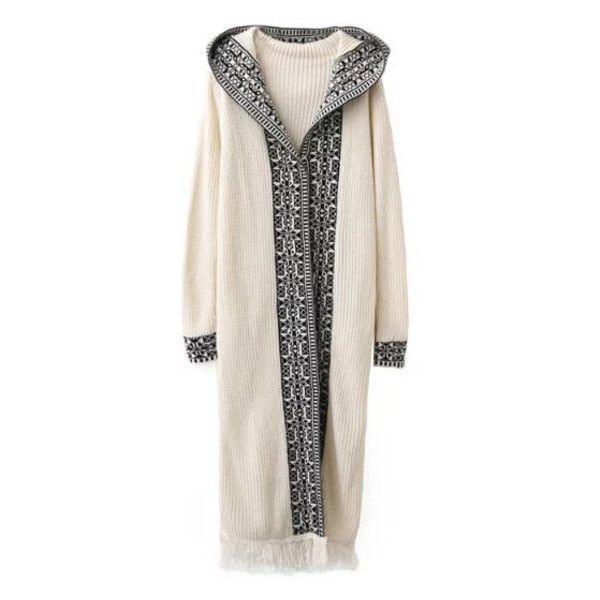 White Tribal Pattern Fringe Hem Hooded Long Cardigan (3.770 RUB) ❤ liked on Polyvore featuring tops, cardigans, long white cardigan, tribal top, tribal print tops, hooded top and white cardigan