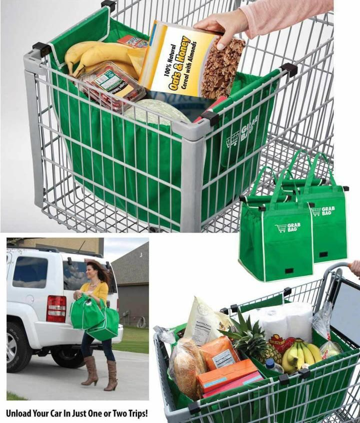 f75b2c8d97c Foldable Tote Bag Grocery Grab Bag Fabric Shopping Carrier Clip-To-Cart  Ecofriendly