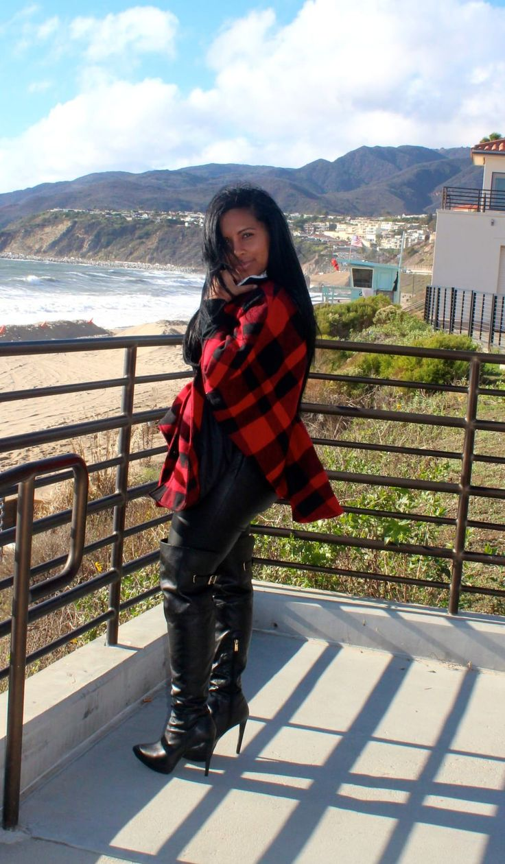 Wearing -  plaid coat, J. Crew, leather pants, Jessica Simpson Over the Knee Boots, Chanel handbag