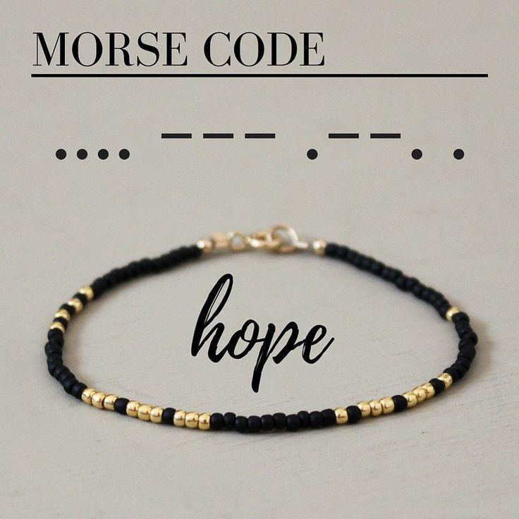 Ein lustiges und einfaches Perlenarmband mit dem Wort HOFFNUNG in Morsecode! Jeder – Armkettchen