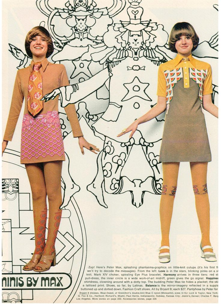 Peter Max clothing line - 1970s mini dress day wear office tan yellow pink orange tie shoes color photo print ad model designer vintage fashion