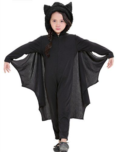 H.X Kids Bat Jumpsuit Halloween Halloween Costume for Boys Girls with Gloves (Small/Fit 3-4 years Black)
